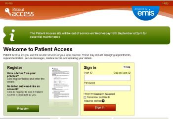 Log on to Patient Access